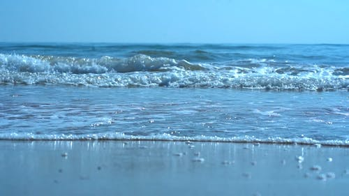 Waves Rushing To Shore In Slow Motion