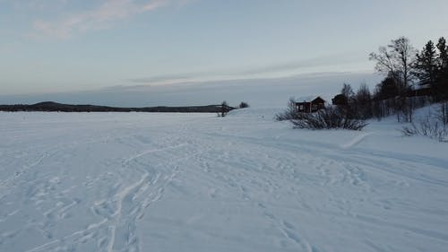 Aerial Footage Of The Landscape Covered With Ice
