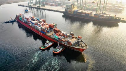 Cargo Container Ships In Port