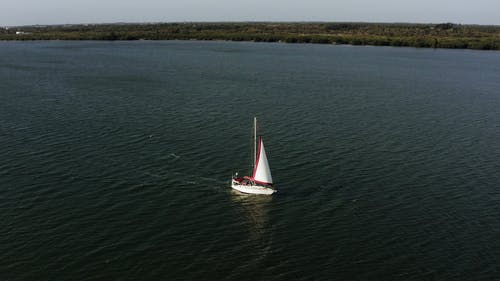 Drone Footage Of A Boat In The Middle Of Water