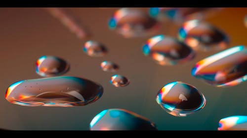 Close Up Footage Of A Water Droplets