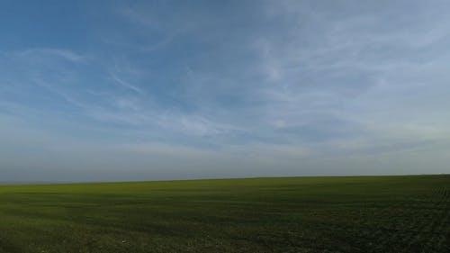 A View Of Grassland Below A Blue Sky
