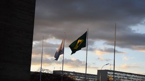 Waving Flag of Brazil on the Flagpole