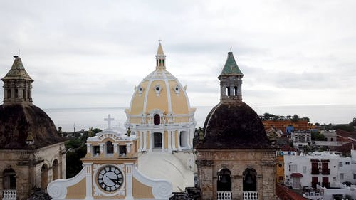 Arc Shot By Drone Of The Historical Church In Cartagena Colombia