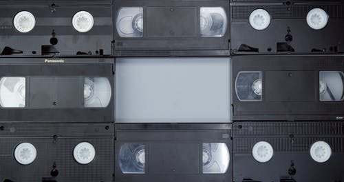 Video Home System Tapes Alternately Arranged In Front And Back