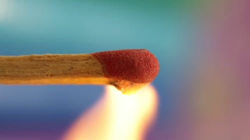 Close Up Footage Of A Burning Match