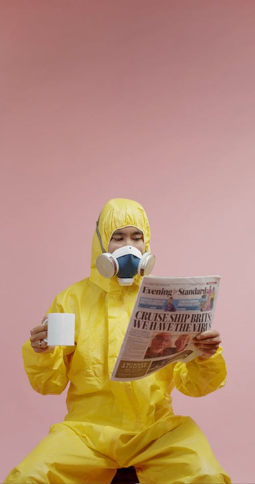 A Man Failure To Drink Coffee Because Of His Gas Mask