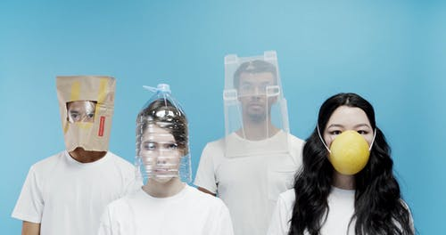 A Group Wearing Innovative Do It Yourself Protective Mask