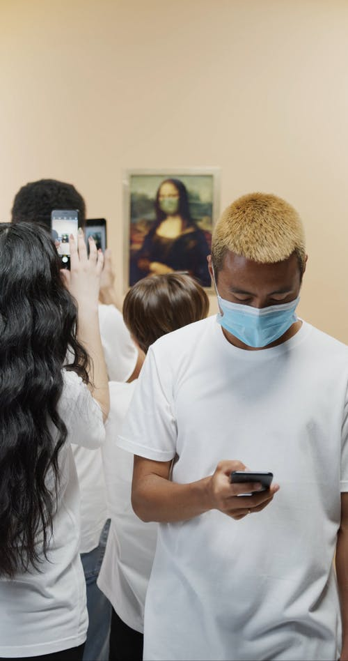 People Taking Picture Of Mona Lisa Painting