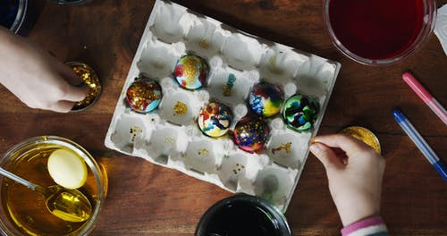 Glittering Colored Eggs For Easter