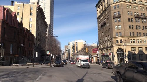 Traffic In The Busy Intersection In Montreal Canada