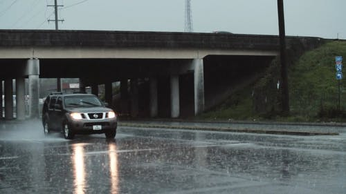 Car Driving on a Rainy Day