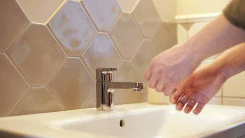 Washing Hands Thoroughly With Soap And Water