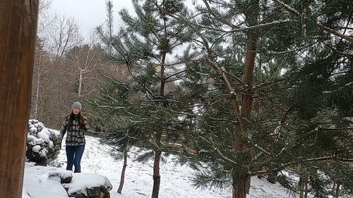 Woman Walking In The Mountain On A Snowy Day