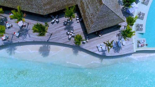 An Aerial Shot of a Beach Resort in Maldives