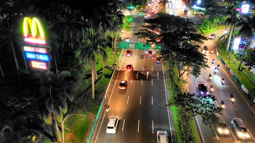 Aerial View Of Vehicles On The Road At Night