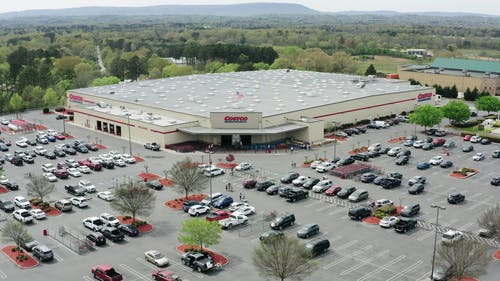 Drone Footage Of A Costco Wholesaler Store Outlet