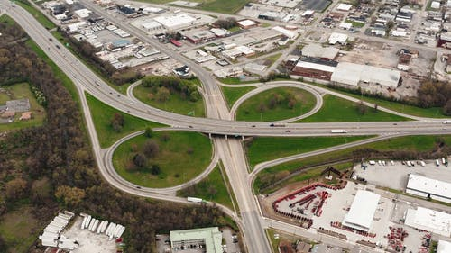 Drone Footage Of Highways With Interchange Loops