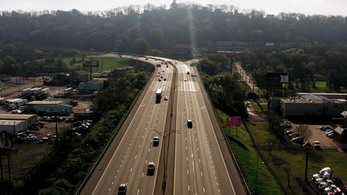 A Drone Shot of a Busy Expressway