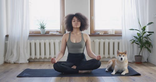 A Woman Meditating At Home Where Her Dog Is Staying Beside Her