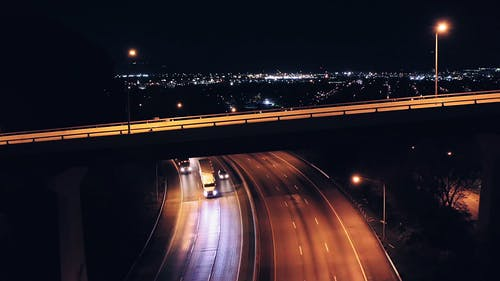 Drone Shot of the Highway at Night