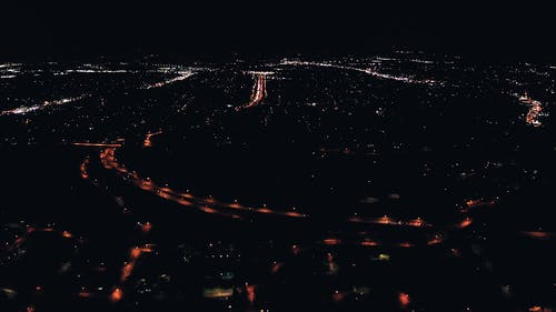 Aerial View Of Cityscape At Night