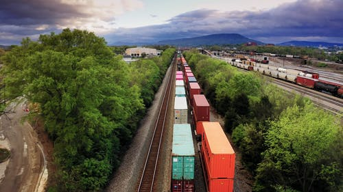 Rail Freight Trains In Transit