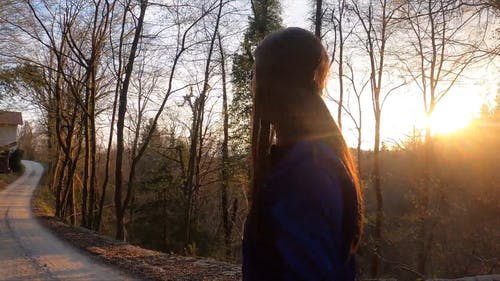 A Woman Walking In The Forest At Sunset