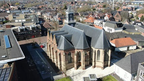 Drone Footage Of A Church Back