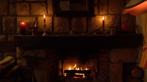 Wide Slow Motion Shot of a Fireplace