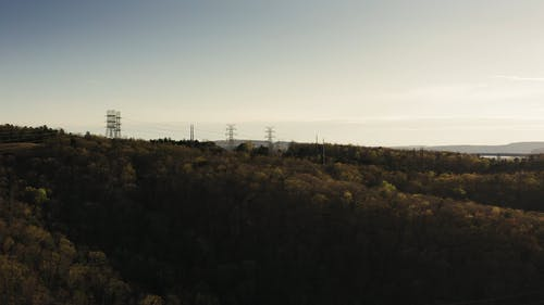 Transmission Towers Built On A Mountain Top
