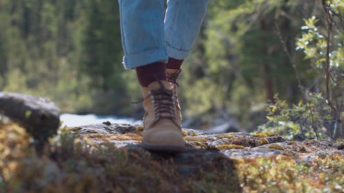 Person Walking In Slow Motion Wearing Hiking Shoes