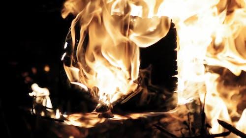 Fire Burning On Dark Background