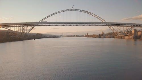 Drone Shot of a Bridge Over a River