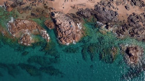 Drone Footage Of A Rocky Seashore