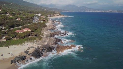 A Drone Shot of a Beautiful Shoreline