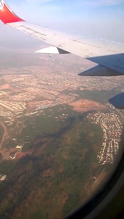 Aerial View Of Landscape From An Airplane