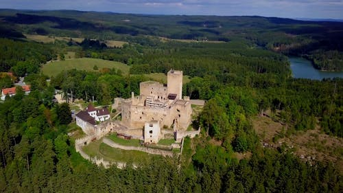 Drone Footage Of An Old Castle On The Hilltop