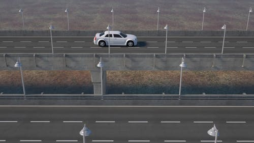 A Traveling White Car In 3d Animation