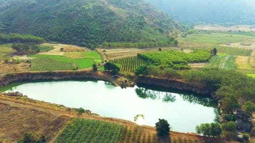 Drone Footage Of A Water Pond Used In Farm Irrigation