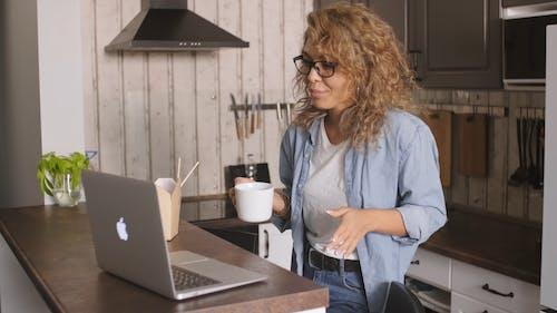 Woman Having A Video Call Through Her Laptop