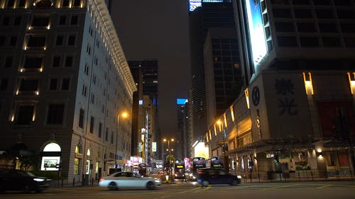 Traffic In City Streets At Night