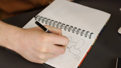 Close-up View Of Person Drawing On Notebook
