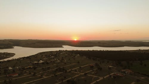 Drone Video of a Sunset at the River