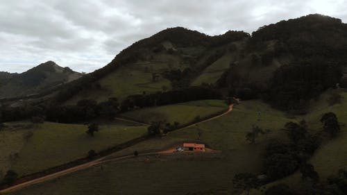 A Drone Shot of a Countryside Mountains