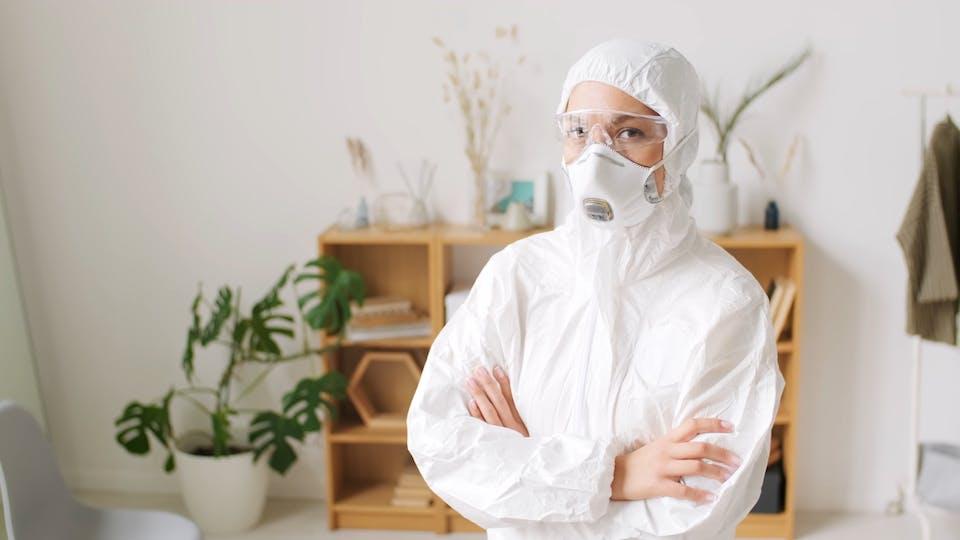 Mask Living Room Worker Confident