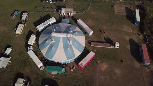 Rotating Aerial Footage Of A Giant Tent
