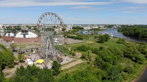 A Drone Shot Over an Amusement Park