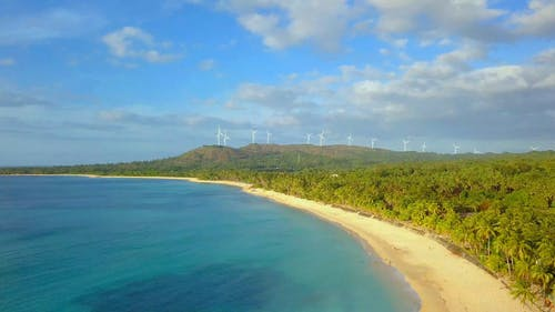 Drone Footage Of The Wind Turbines In The Philippines By The Pagudpud Beach