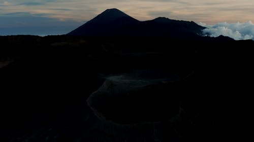 View Of Silhouette Of A Volcano